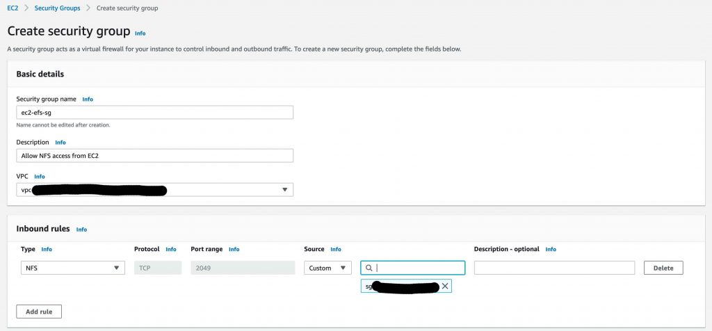 Configure Security Group for NFS access